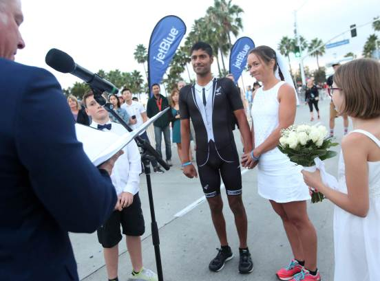 Akhil Viz and Sibylle Hallstein get married at the starting line of the Jet Blue Long Beach half Marathon Sunday morning, October 7, 2018. (Photo by Tracey Roman, Contributing Photographer)